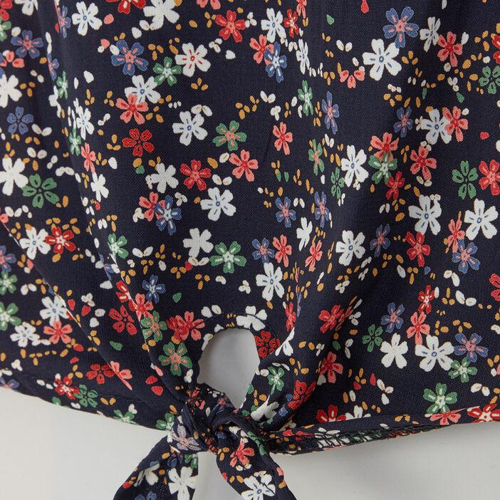 Chemise imprimé fleuri détails dentelle fille bleu marine
