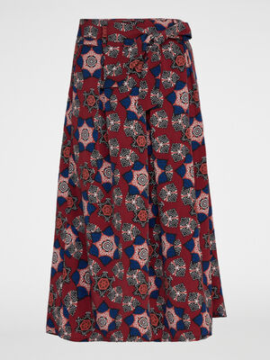 Jupe culotte imprimee ceinturee rose framboise femme