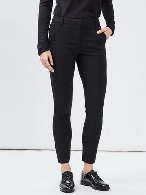 Pantalon slim taille basse noir femme