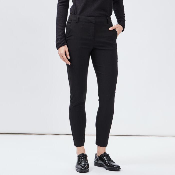 Pantalon slim taille basse femme noir