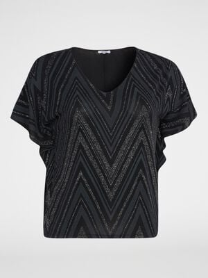 T shirt grande taille manches papillon noir femme