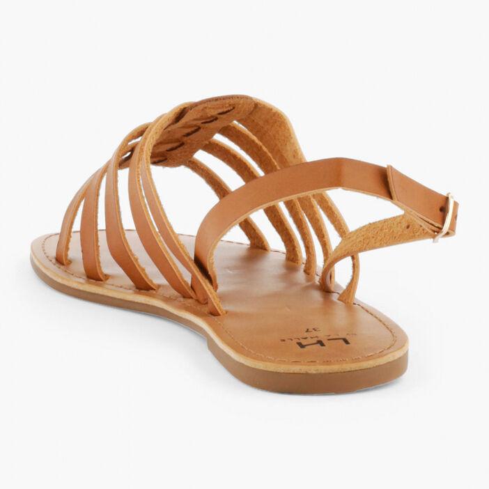 Sandales unies à boucle femme marron