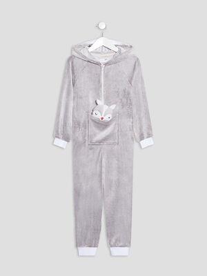 Combinaison pyjama a capuche beige fille
