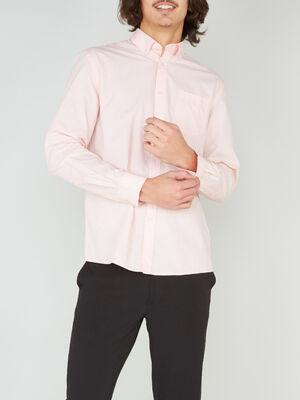Chemise droite unie manches longues rose homme