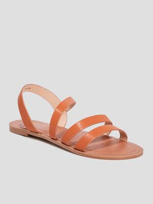 Sandales plates marron femme