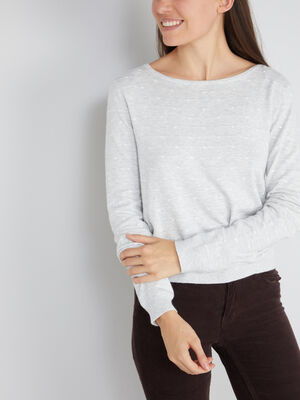 Pull a pois boutonne gris femme