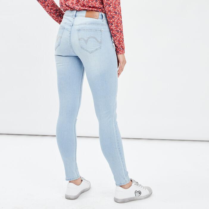 Jeans skinny taille basse femme denim bleach