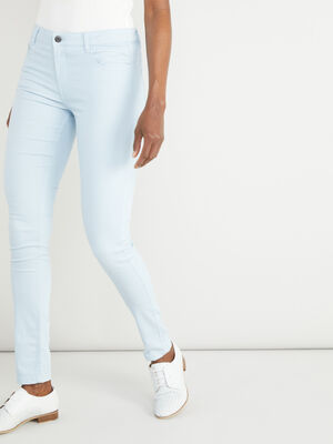Pantalon slim uni bleu ciel femme