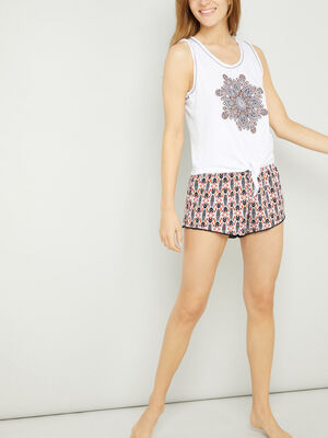 Pyjama 2 pieces coton melange blanc femme