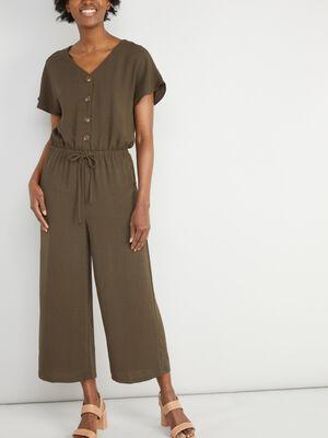 Combinaison pantalon unie taille elastiq vert kaki femme