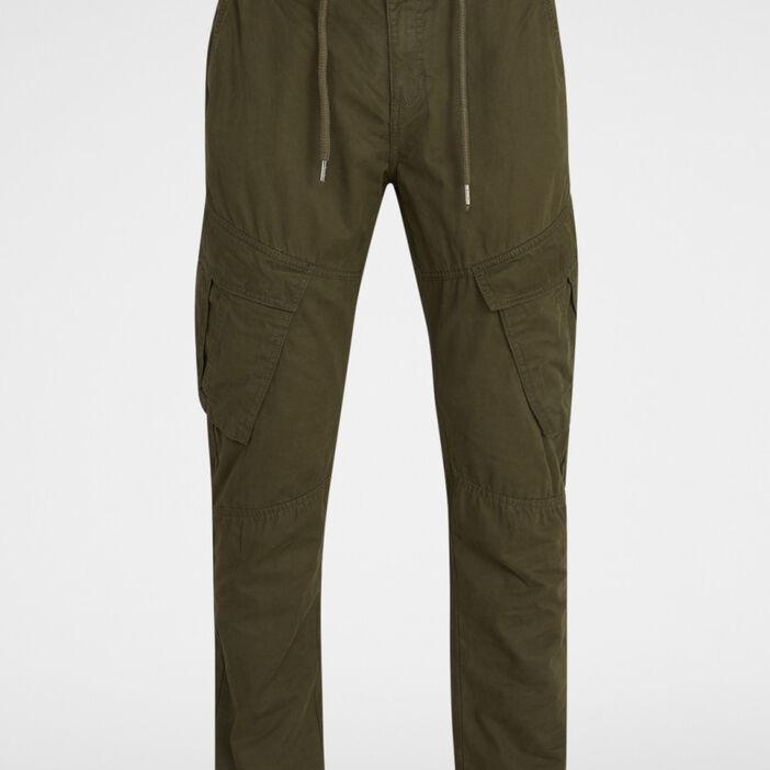 Pantalon coton uni esprit battle homme vert kaki