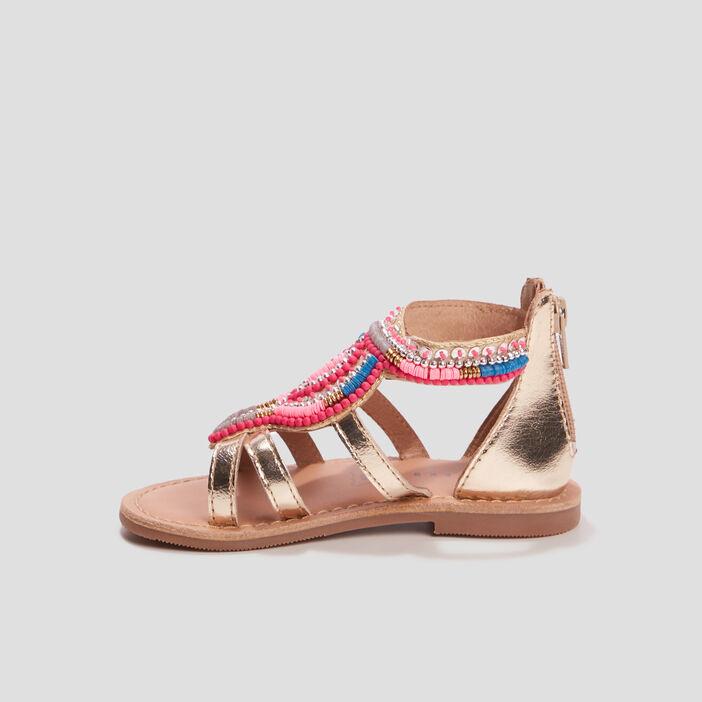 Sandales en cuir à perles Creeks fille couleur or
