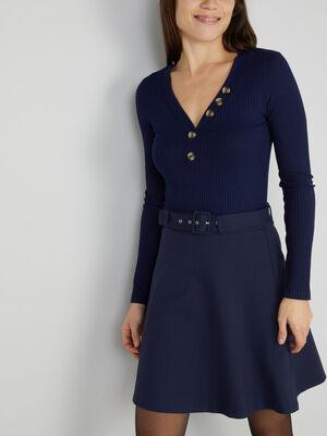 T shirt maille cotelee boutons decoratif bleu marine femme