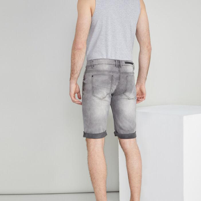 Bermuda jean bleached avec revers homme gris