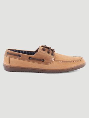 Chaussures bateau en cuir nubuck marron homme