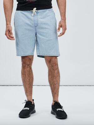 Short droit en jean denim bleach homme