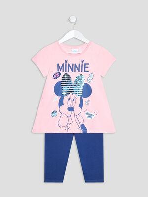 Ensemble 2 pieces Minnie rose fluo fille