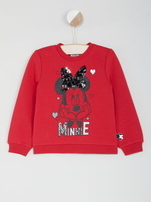 Sweatshirt Minnie deco sequins rose framboise fille