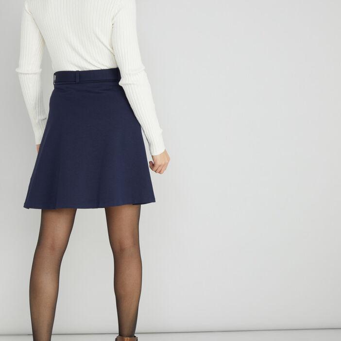 Jupe patineuse unie taille haute femme bleu marine