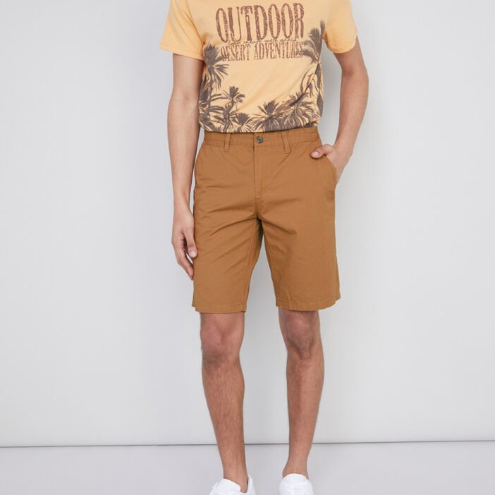Bermuda coton uni coupe droite homme marron clair