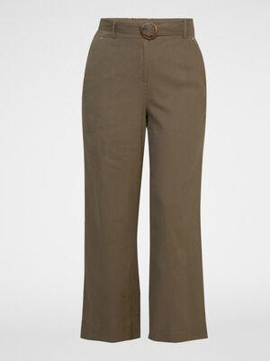 Pantalon en lin melange vert kaki femme