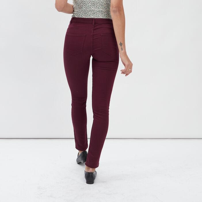 Pantalon skinny taille basse femme prune
