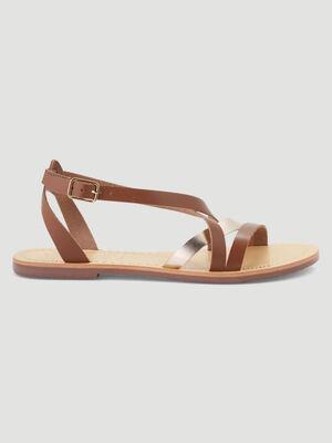 Sandales cuir talon plat marron femme