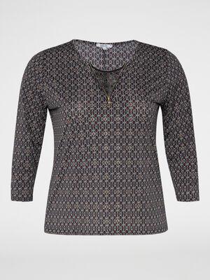 T shirt imprime zip et dentelle bordeaux femme