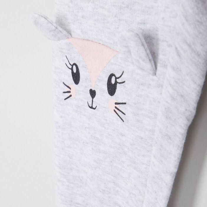 Pantalon broderies et détails 3D fille gris