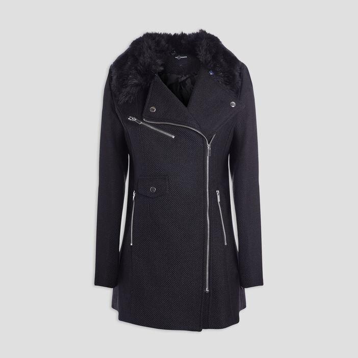 Manteau droit zippé femme noir