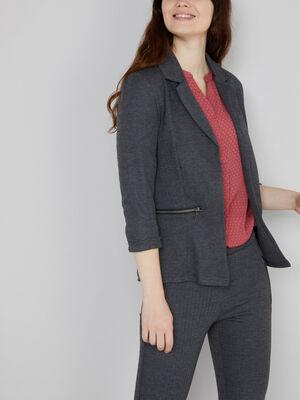 veste tailleur poches zippees gris fonce femme