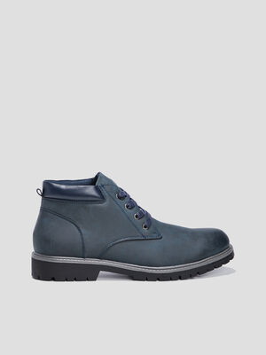 Bottines crantees bleu marine homme