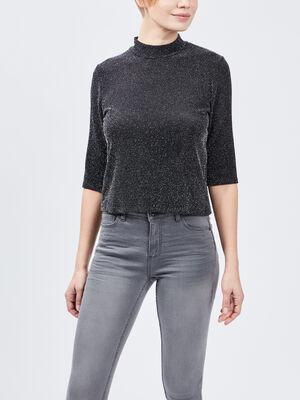 T shirt manches 34 couleur argent femme
