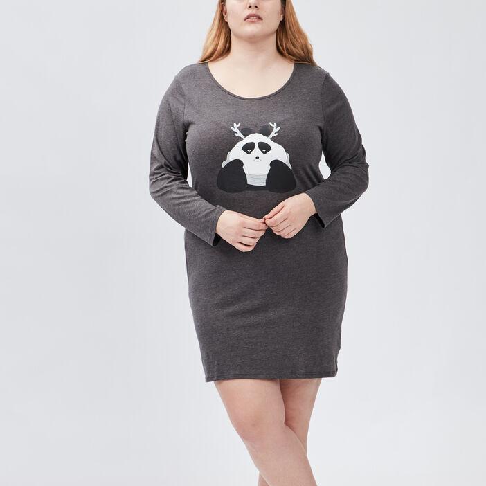 Chemise de nuit femme grande taille gris fonce