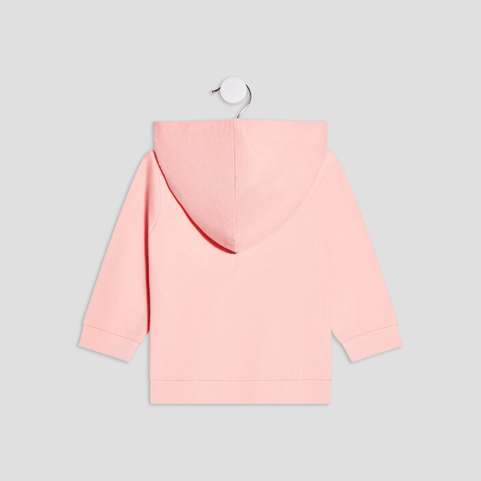 Gilet zippé à capuche bébé fille rose fluo