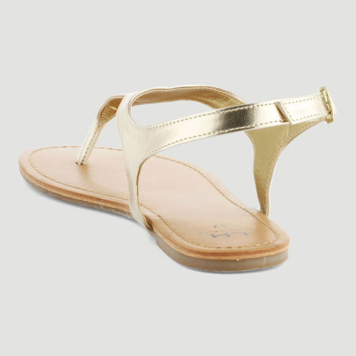 Sandales avec entredoigt femme couleur or