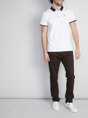 Pantalon droit coton uni gris fonc homme