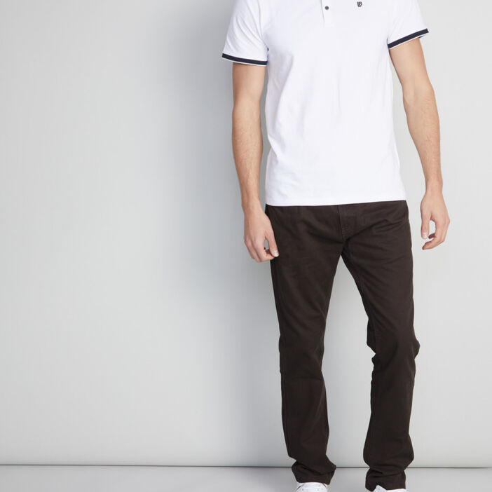 Pantalon droit coton uni homme gris foncã‰