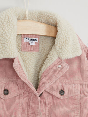 Blouson velours cotele double sherpa rose fille
