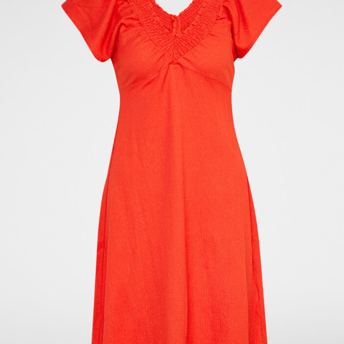 Robe cintrée col V smocké femme orange