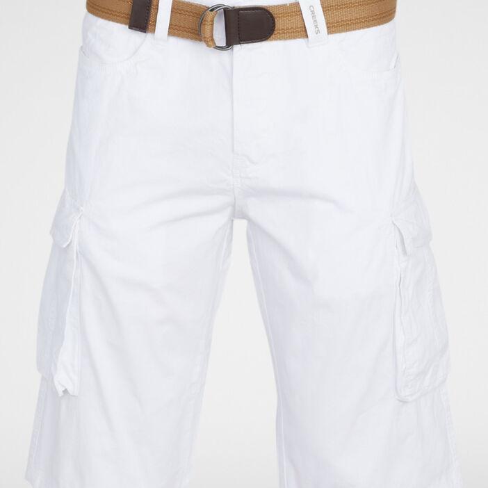 Bermuda battle coton avec ceinture homme blanc