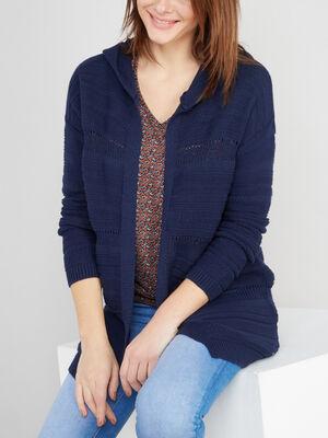 Gilet uni ouvert a capuche bleu marine femme