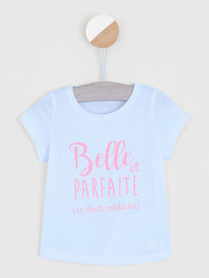 T shirt uni a message blanc fille