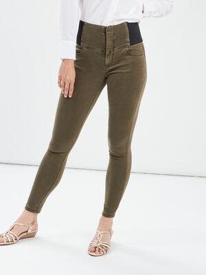 Pantalon skinny taille haute vert kaki femme