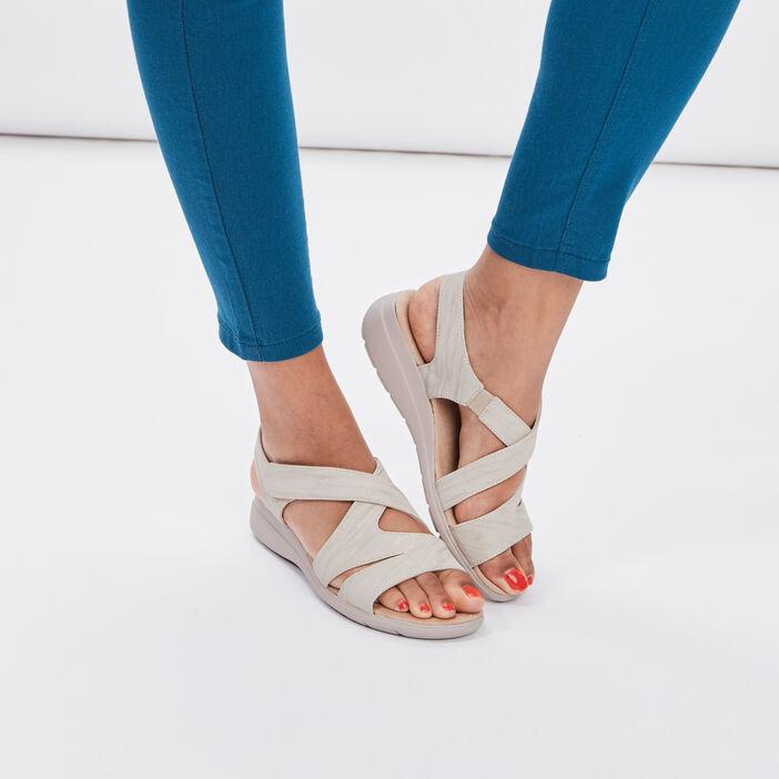 Sandales Walking Confort Plus femme beige