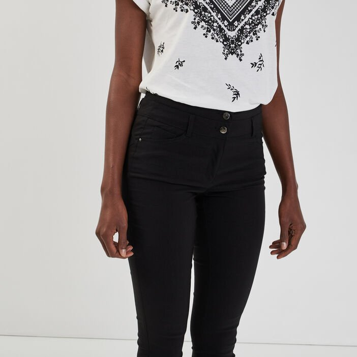 Pantalon slim taille haute femme noir