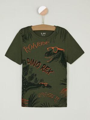 T shirt col rond imprime moto vert kaki garcon