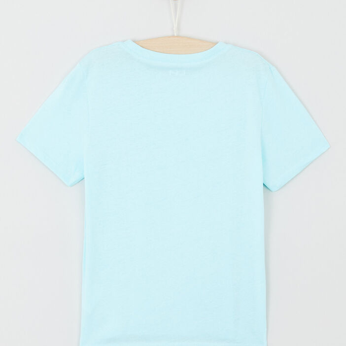 T-shirt uni message devant garçon vert pastel