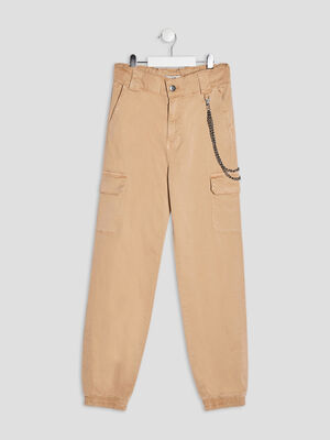 Pantalon battle avec chaines beige fille