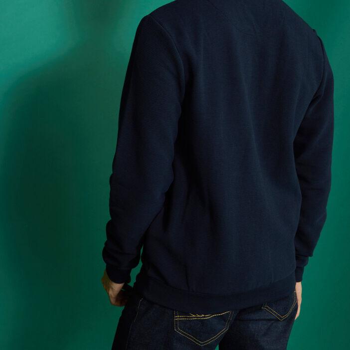 Gilet zippé homme bleu marine